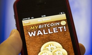 A Bitcoin wallet on a smartphone.